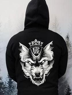 Wolf & Crown black Hoodie back