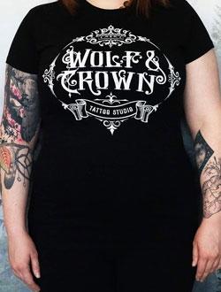 black wolf and crown tee ladies